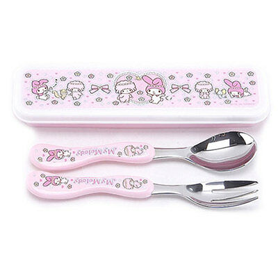 (SALE) My melody spoon & fork with case set (standard & sweety)