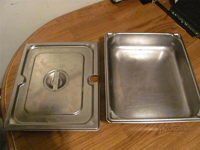"""1 Vollrath Commercial Stainless Steam Table Pan Half X 2 1/2 """"d+ Lid-Used"""