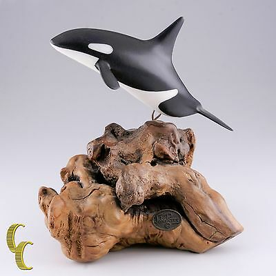 Orca Killer Whale Driftwood Sculpture by John Perry Signed