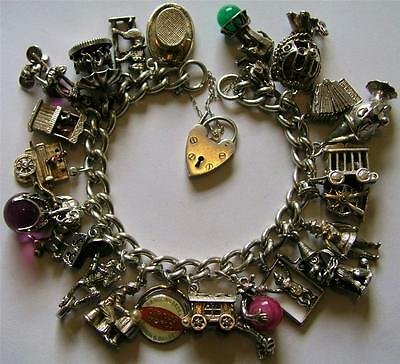 FABULOUS VINTAGE STERLING SILVER CIRCUS CHARM BRACELET w/ 22 RARE CHARMS 116 GR