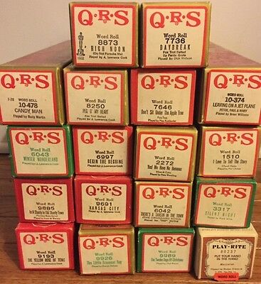 18 PLAYER PIANO ROLLS, Word Roll, mixed lot