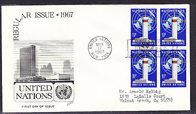 """United Nations """"Fleetwood"""" 1967 - Headquarters Block4 First Day Cover addressed"""