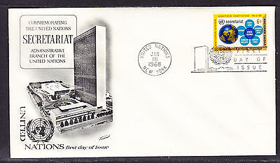 """United Nations """"Fleetwood"""" 1968 - 6c Secretariat  First Day Cover addressed"""