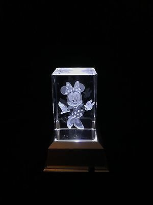Minnie Mouse- 3D Laser Etched Crystal Block With 4 LED Light base