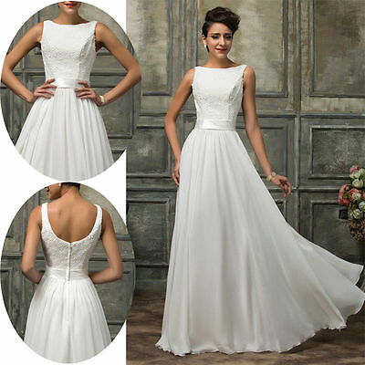 Stock New White/Ivory lace Wedding Dress Bridal ball Gown size 6 - 16