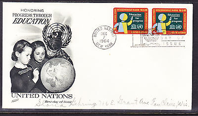 """United Nations """"Fleetwood"""" 1964 - Eduction First Day Cover addressed"""