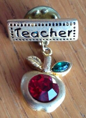 Teacher and Apple Pin Badge Rare Vintage (D2)