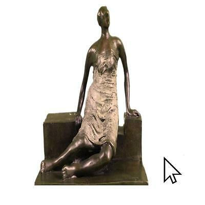 Signed Henry Moore Abstract Heavy Female Modern Art Hot Cast Bronze Sculpture