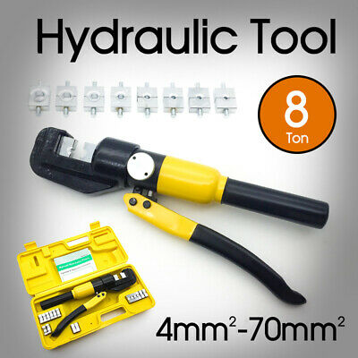 8 Ton New Hydraulic Crimper Cable Wire Force Tool Kit 9 Die 4mm-70mm AU Stock