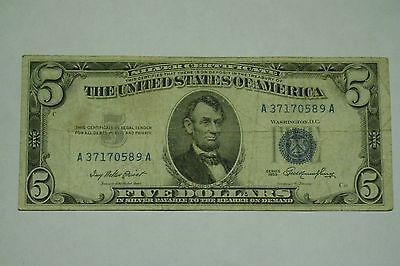 US Silver Certificate $5 Blue Seal 1953 Series, F to VF condition, circulated