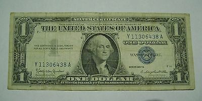 US Silver Certificate $1 note, 1957 Series A or B, regular circulated condition