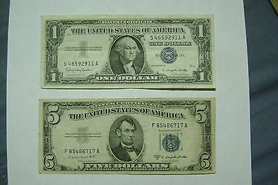 US Silver Certificate paired lot of $1 & $5 blue seals, 1953 & 1957 series