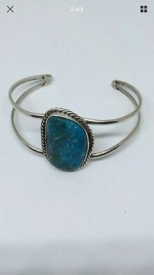 Wilfred Chee Native American Navajo sterling silver Turquoise cuff bracelet