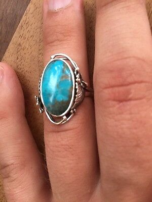 Discounted !!!!!!!.Navajo Silver And Arizona Turquoise Ring Native America
