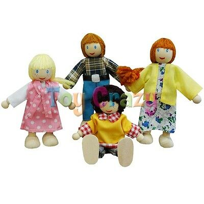 Fun Factory Wooden Dolls Poseable White Family Doll Set