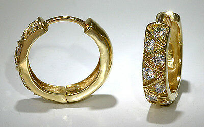 Reversible Hinged Hoop Earrings 14k Yellow Gold Cubic Zirconia 18mm