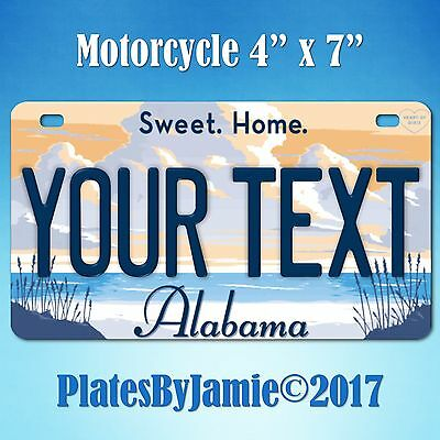 Alabama YOUR Text Custom Personalized State Motorcycle License Plate Tag New SH