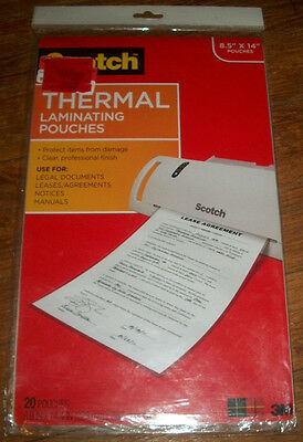 Scotch Thermal Laminating Pouches 8 9 X 14 4 Inches Legal Size 20 Pack Tp3855 20