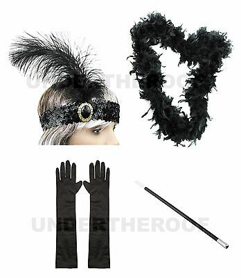 1920s 20s Flapper Headband Cigarette Holder Feather Boa Satin Gloves Gatsby Set
