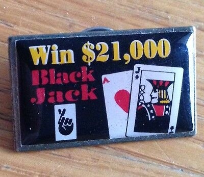 Win $21,000 Black Jack Pin Badge Rare Collectable (D3)