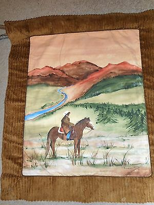 "NEIMAN MARCUS Original Design Cowboy on Horse 31"" x 36"" Wall Hanging NWT $ 188"