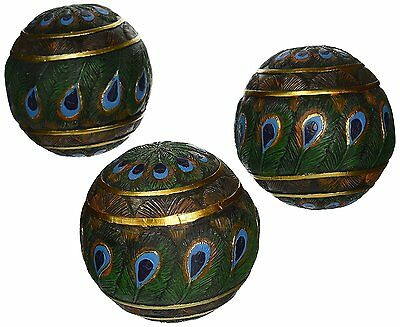 Design Toscano Peacock Feathered Orbs Decorative Accent Balls Set of Three