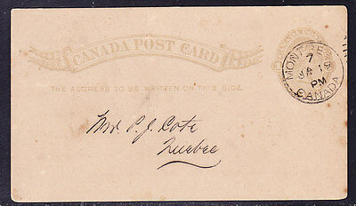Canada 1897 - 1c QV Letter Card - Montreal to Quebec