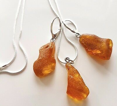Genuine Baltic Amber Set Earrings With Pendant Sterling Silver Chain 925 Sale !