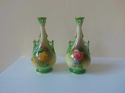 Pair of Royal Worcester Hadley Rose Vases dated  1907
