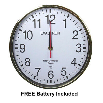"10"" Silver Stylish Round Signal Radio Controlled Sweep Home Office Wall Clock"