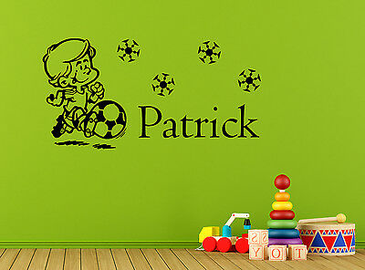 Personalised Little Footballer Wall Decal Sticker Removable Vinyl Decor bedroom