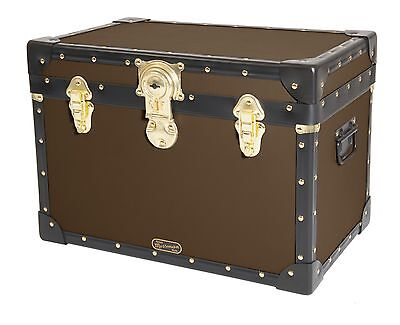 BROWN Traditional British Mossman Made Boarding School Stool Box Storage Trunk
