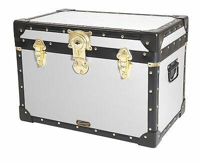 WHITE Traditional British Mossman Made Boarding School Stool Box Storage Trunk