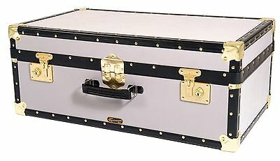 "WHITE Traditional British Mossman Made Vintage 30"" Attache Luggage Storage Trunk"