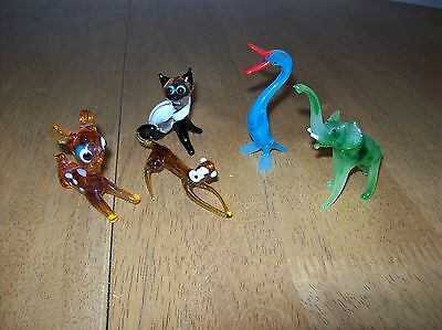 5 X 1970s VINTAGE MURANO GLASS ANIMALS - CAT - BAMBI - DUCK - ELEPHANT - MONKEY
