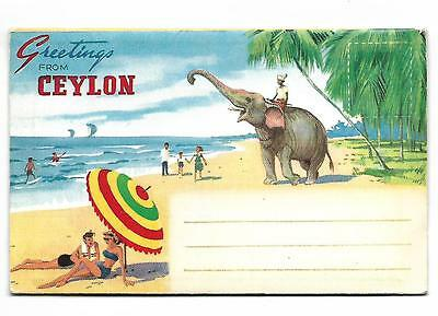 Set of 9 Colour Photo Views -Letter Card . CEYLON-SRI LANKA  VINTAGE