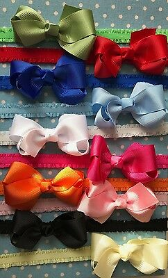 Baby Girls Bow Headband Boutique Style Elastic Band Accessories 3 inch bow + Lot