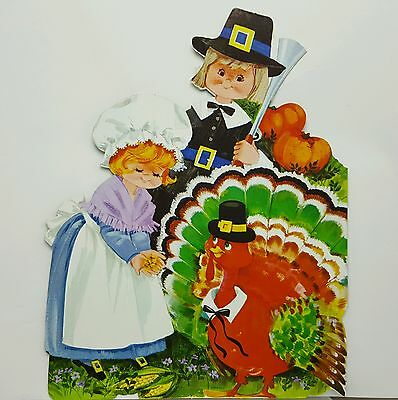 Vintage Children Pilgrim Cardboard Diecut Wall Decoration Thanksgiving Eureka