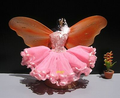 Fairy Salmon Butterfly Angel Outfit Handmade Costumes for Barbie, Dolls Clothing