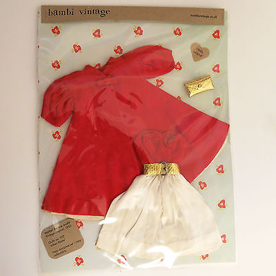 Original vintage Mattel Barbie Oufit 977 Silken Flame coat dress belt bag - 1960