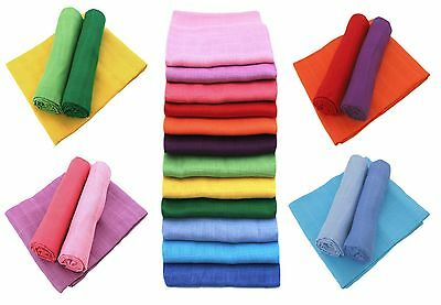 Bright Bots 3PK 100% Pure Cotton Baby Muslin Squares 70x70cms Various Colours