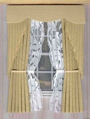 Dollshouse Curtains Oatmeal Swag With Tied Nets