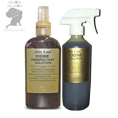 Gold Label Iodine safe application minor wounds cuts umbilical cords - Whelping