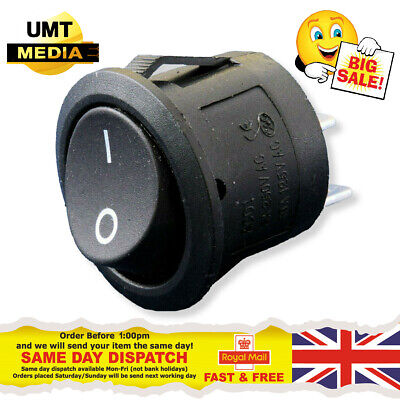 12V Round Rocker Switch – 14mm On/Off 12 Volt Black Cover Car – UK SELLER