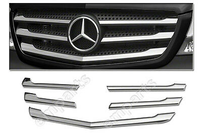 Mercedes Sprinter Front Grille Chrome Trim Strip Stainless 5Pcs 2014 To 2017