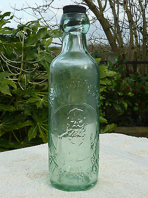 24cm Pale Green R Stothert & Sons Atherton Glass Min Water Bottle Breweriana