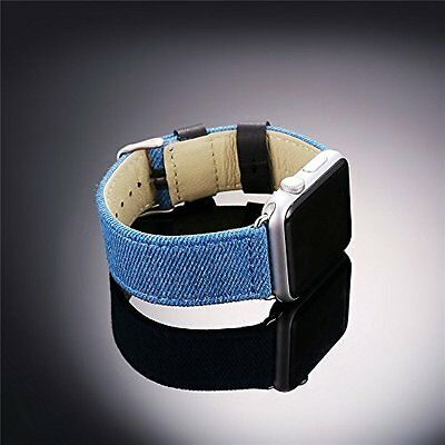 Apple Watch iwatch Band Strap 38mm Blue Denim Fabric High Quality