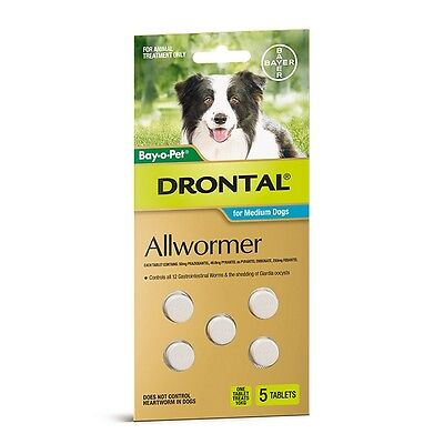 Drontal ALL WORMER TABLETS 5Pieces Suitable For Medium Dogs *German Brand