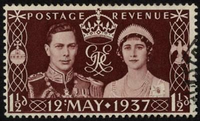 GB SG 461a/CW S1a 1937 1½d Coronation, R10/1 'colon' flaw