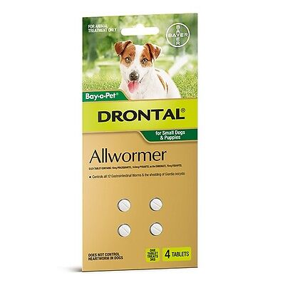 Drontal ALL WORMER TABLETS 4Pieces, For Small Dogs & Puppies *German Brand